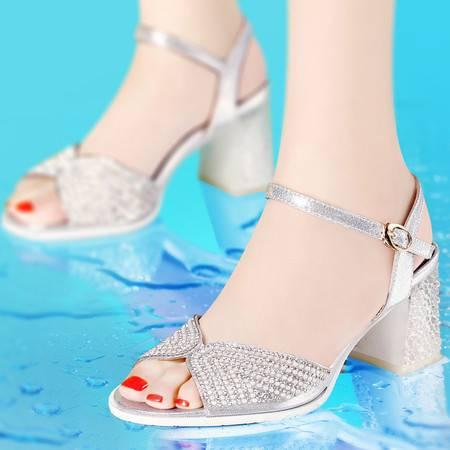 古奇天伦2014夏季高跟鞋水晶跟鱼嘴鞋时尚水钻女凉鞋英伦粗跟方跟女鞋8029