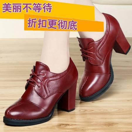 古奇天伦2014秋季新款高跟鞋女鞋时尚休闲鞋系带粗跟低帮鞋单鞋