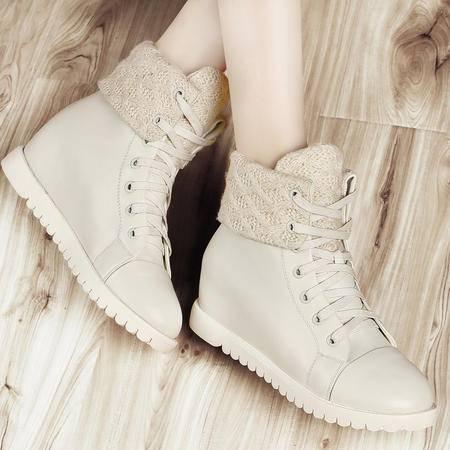 古奇天伦2014秋冬新款内增高平底鞋系带女鞋休闲鞋靴子女短靴