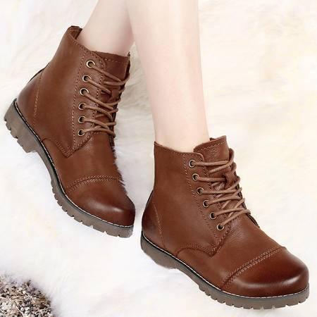古奇天伦秋冬女靴子平跟真皮马丁靴平底短靴头层牛皮加绒系带女鞋