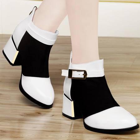 古奇天伦秋季新款女鞋网纱马丁靴尖头粗跟休闲鞋中跟女单鞋高帮鞋