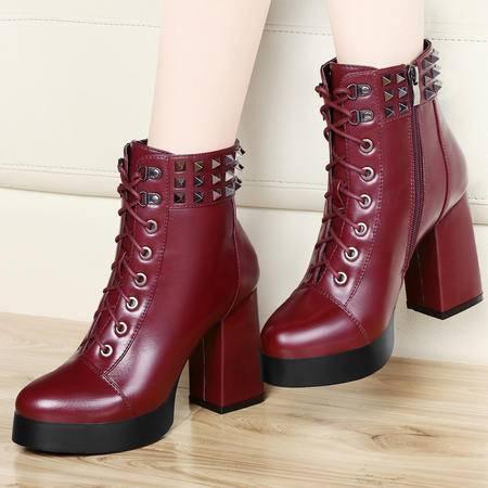 古奇天伦秋冬新款马丁靴短靴粗跟高跟单靴铆钉防水台系带女鞋潮靴子
