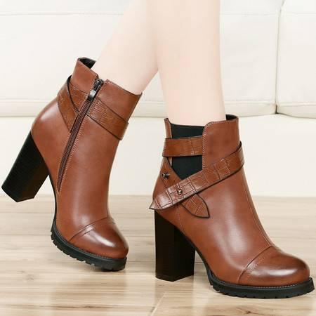 古奇天伦秋季新款短靴马丁靴女鞋粗跟女短筒靴子高跟鞋女靴子
