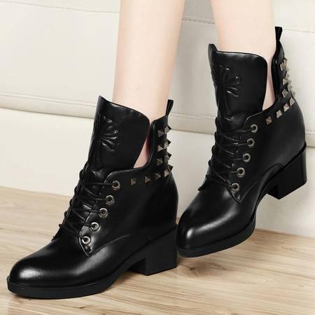古奇天伦秋冬铆钉女靴粗跟中跟女鞋子休闲鞋短筒马丁靴系带短靴