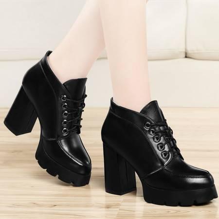 古奇天伦秋冬女鞋时尚短靴高跟粗跟单鞋防水台单靴子系带高帮鞋及踝靴