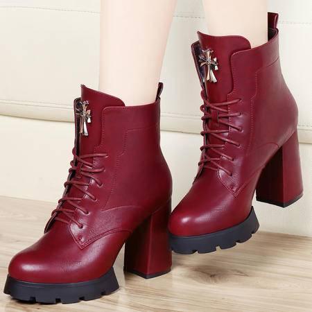古奇天伦秋冬季女靴防水台中筒短靴女鞋粗跟高跟系带单靴子