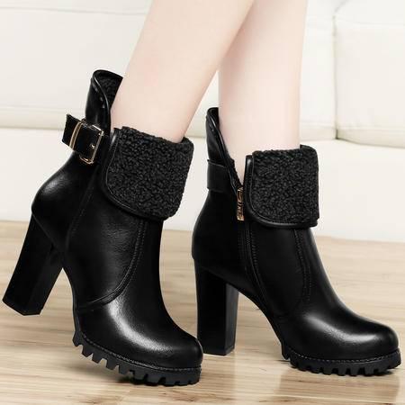古奇天伦秋冬高跟靴子英伦粗跟短靴保暖短筒女靴防水台马丁靴休闲女鞋