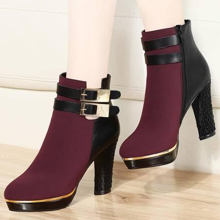 古奇天伦秋冬季短靴单靴女靴子高跟鞋粗跟马丁靴及踝靴女鞋
