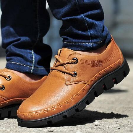 古奇天伦秋季休闲鞋皮鞋真皮头层皮低帮鞋子英伦平底系带男鞋