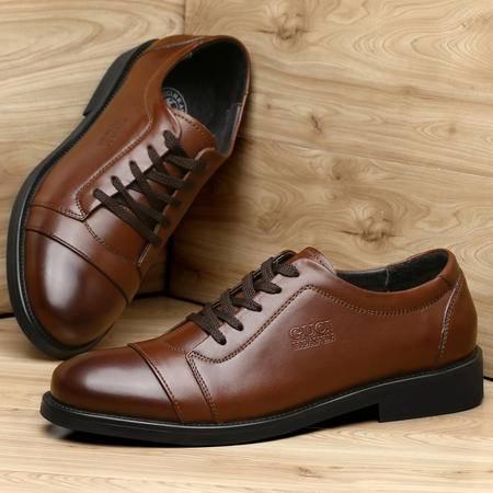 古奇天伦男鞋秋季新款英伦休闲鞋男士商务正装真皮鞋子单鞋系带皮鞋低帮鞋