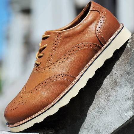 古奇天伦秋季英伦布洛克休闲鞋男士真皮鞋子复古雕花厚底皮鞋系带低帮鞋男鞋