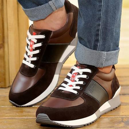 古奇天伦秋季韩版运动鞋低帮系带休闲鞋男士潮流真皮鞋子透气板鞋