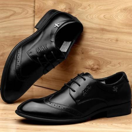 古奇天伦秋季新款男鞋男士低帮鞋布洛克真皮尖头鞋子系带商务正装皮鞋