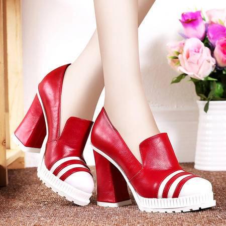 莱卡金顿秋季防水台高跟鞋女单鞋时尚休闲鞋浅口粗跟女鞋