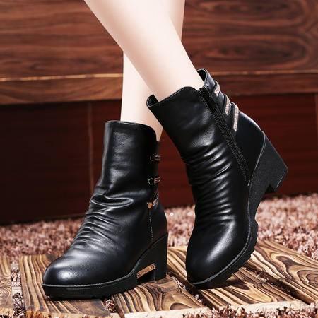 莱卡金顿秋冬女鞋中筒靴坡跟马丁靴英伦水钻女靴子保暖雪地靴