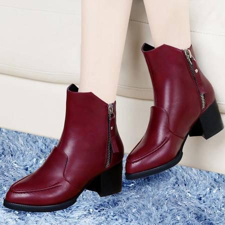 古奇天伦秋季新款时尚女靴尖头粗跟高跟女鞋马丁靴侧拉链短靴子