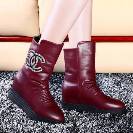莱卡金顿秋冬中筒靴平底马丁靴防水台女靴子厚底雪地靴加绒保暖女鞋