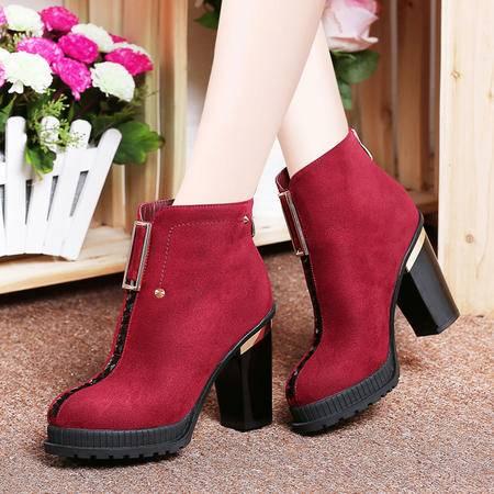 莱卡金顿秋冬短靴水钻铆钉裸靴女粗跟马丁靴防水台女靴子高跟女鞋