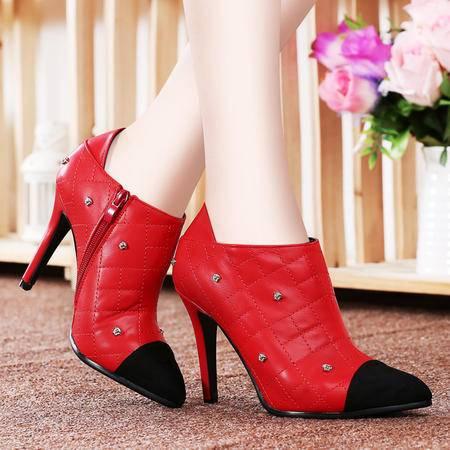 莱卡金顿秋季高跟鞋女铆钉休闲鞋女鞋细跟尖头深口女单鞋短靴及踝靴