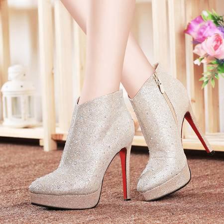 莱卡金顿秋季短筒女鞋高跟鞋短靴欧美细跟女靴子防水台女裸靴