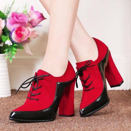 莱卡金顿秋季时尚女单鞋拼色英伦高跟鞋粗跟深口尖头系带女鞋