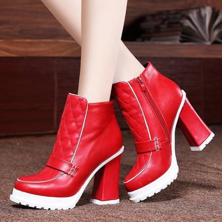 莱卡金顿秋冬新款女鞋马丁靴女粗跟短靴加绒保暖女短筒靴高跟鞋防水台女靴子