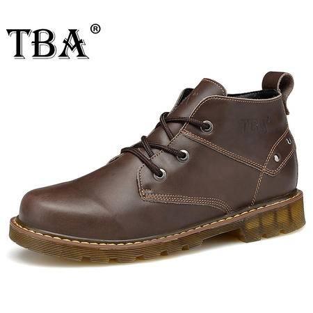 TBA牛头酋长秋冬高帮鞋男鞋马丁靴休闲鞋男士真皮鞋子工装鞋系带靴子