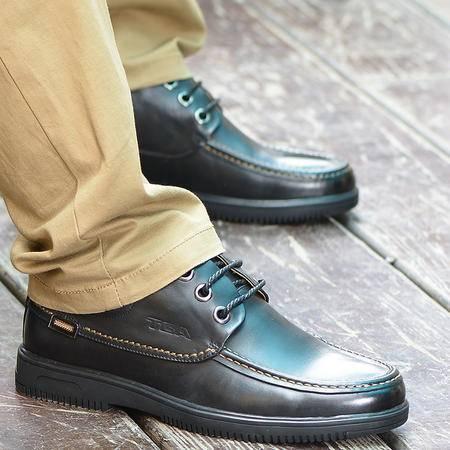 TBA牛头酋长男鞋英伦日常休闲鞋男士真皮头层皮系带皮鞋低帮平底鞋