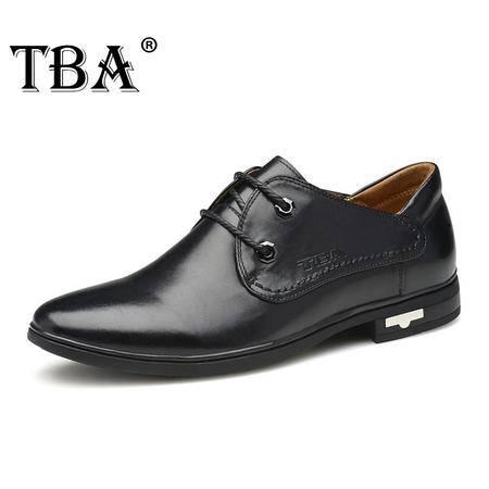 TBA牛头酋长春秋季新款休闲鞋男士真皮鞋子尖头系带皮鞋商务男鞋