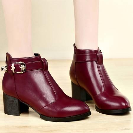 盾狐秋冬新款英伦短筒时装靴尖头粗跟短靴女中跟欧美女靴及踝靴女鞋