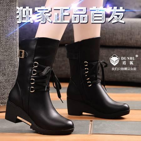 盾狐秋冬中筒靴女靴防水台欧美马丁靴坡跟时尚复古短靴加绒保暖雪地靴女鞋