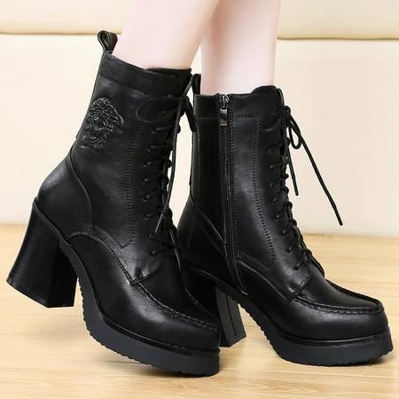 盾狐秋冬新款粗跟马丁靴女英伦中筒靴女高跟鞋加绒保暖靴防水台女靴子女鞋