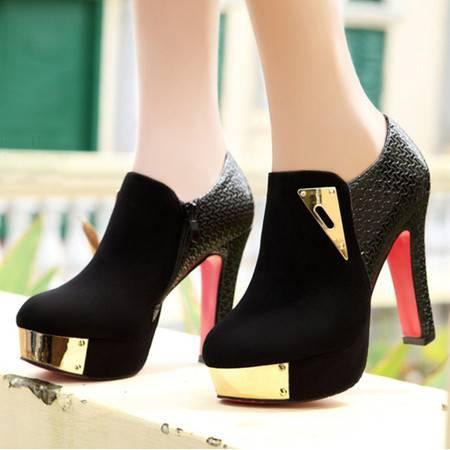 盾狐秋季新款欧美深口高跟鞋单鞋防水台粗跟裸靴时尚珠链女鞋