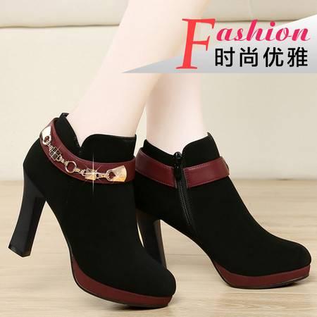 盾狐秋季新款高跟鞋单鞋女粗跟深口裸靴欧美防水台绒面女鞋子短靴子