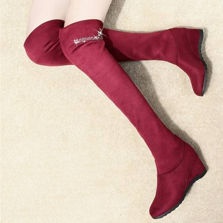 盾狐秋冬新款高筒靴过膝长靴女坡跟女靴时装弹力靴子高跟女鞋两穿水钻套筒靴