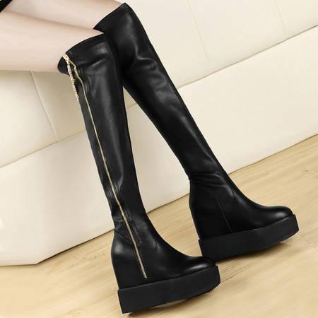 盾狐秋冬新款内增高弹力靴女鞋松糕鞋厚底长靴侧拉链长筒靴女靴子