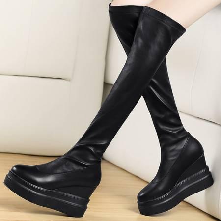 盾狐秋冬坡跟长靴弹力瘦身松糕厚底高跟高筒靴女靴子过膝长靴套筒靴