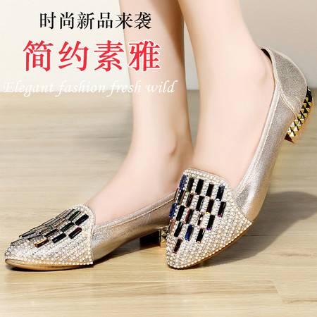盾狐秋季新款时尚女鞋豆豆鞋单鞋矮跟尖头休闲鞋浅口水钻套脚懒人鞋