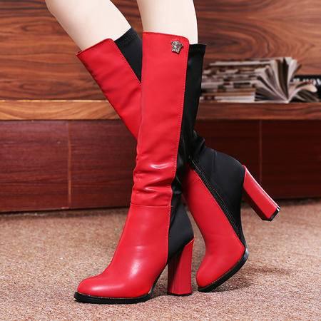 莱卡金顿秋冬新款女鞋高跟弹力靴过膝靴长靴马丁靴粗跟女鞋加绒保暖靴子