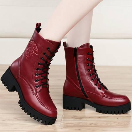 古奇天伦冬季新款中筒靴加绒女靴雪地靴休闲骑士靴保暖棉靴防水台粗跟女鞋