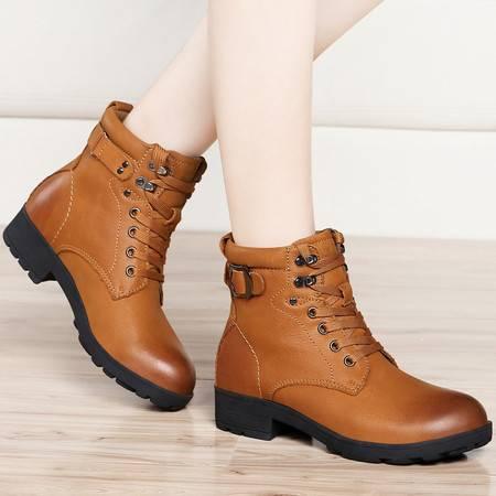 古奇天伦冬季新款保暖军靴加绒雪地靴头层牛皮平底靴棉靴女鞋系带短靴