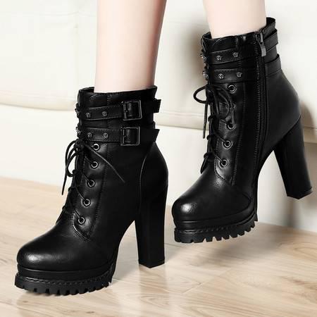 古奇天伦冬季新款中筒马丁靴粗跟女鞋超高跟女靴子系带防水台百搭时装靴