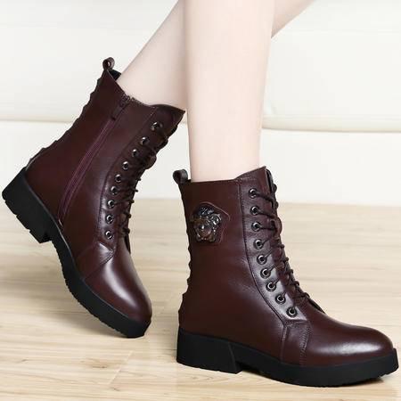 古奇天伦冬季短筒真皮女靴子铆钉加绒保暖女鞋平底马丁靴系带短靴女鞋