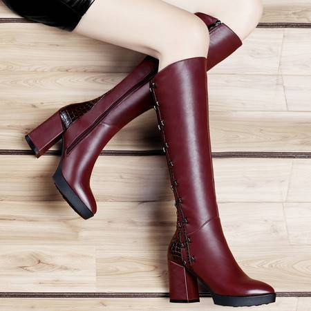 古奇天伦秋冬靴子长靴欧美防水台高跟及膝靴加厚保暖长筒靴粗跟女鞋子