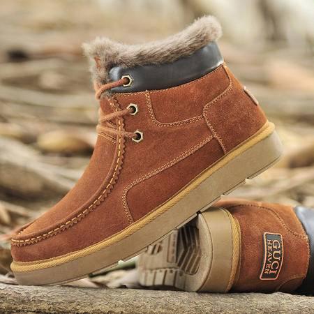 古奇天伦冬季棉鞋真皮保暖男靴加绒马丁靴休闲短靴高帮工装鞋男鞋