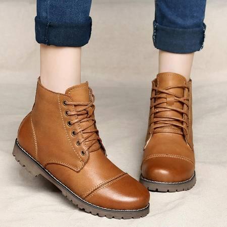 古奇天伦冬季女靴平跟真皮头层牛皮马丁靴英伦短靴加绒保暖靴雪地靴女鞋