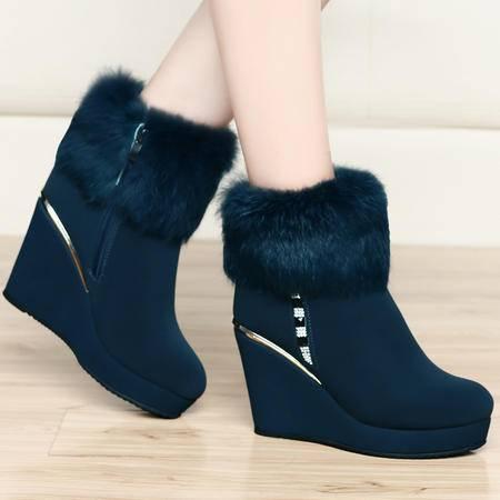 古奇天伦秋冬新款防水台雪地靴加绒保暖女靴短靴厚底坡跟兔毛时装靴子女鞋