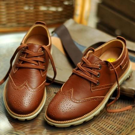 古奇天伦2015新款男士休闲鞋春季布洛克雕花男鞋真皮英伦潮鞋系带单鞋皮鞋