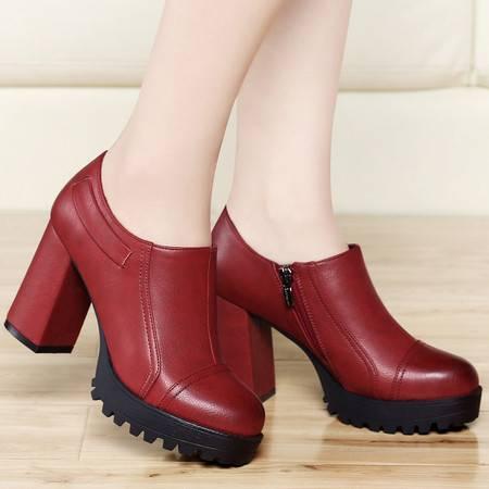古奇天伦春季新款欧美单鞋圆头深口粗跟高跟鞋厚底防水台女鞋休闲鞋