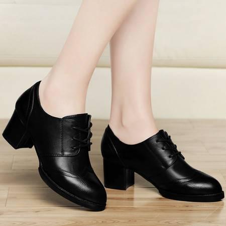 古奇天伦春季新款女鞋高跟鞋单鞋女粗跟圆头时尚系带休闲鞋